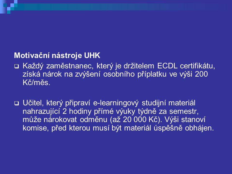 Motivační nástroje UHK  Každý zaměstnanec, který je držitelem ECDL certifikátu, získá nárok na zvýšení osobního příplatku ve výši 200 Kč/měs.  Učite