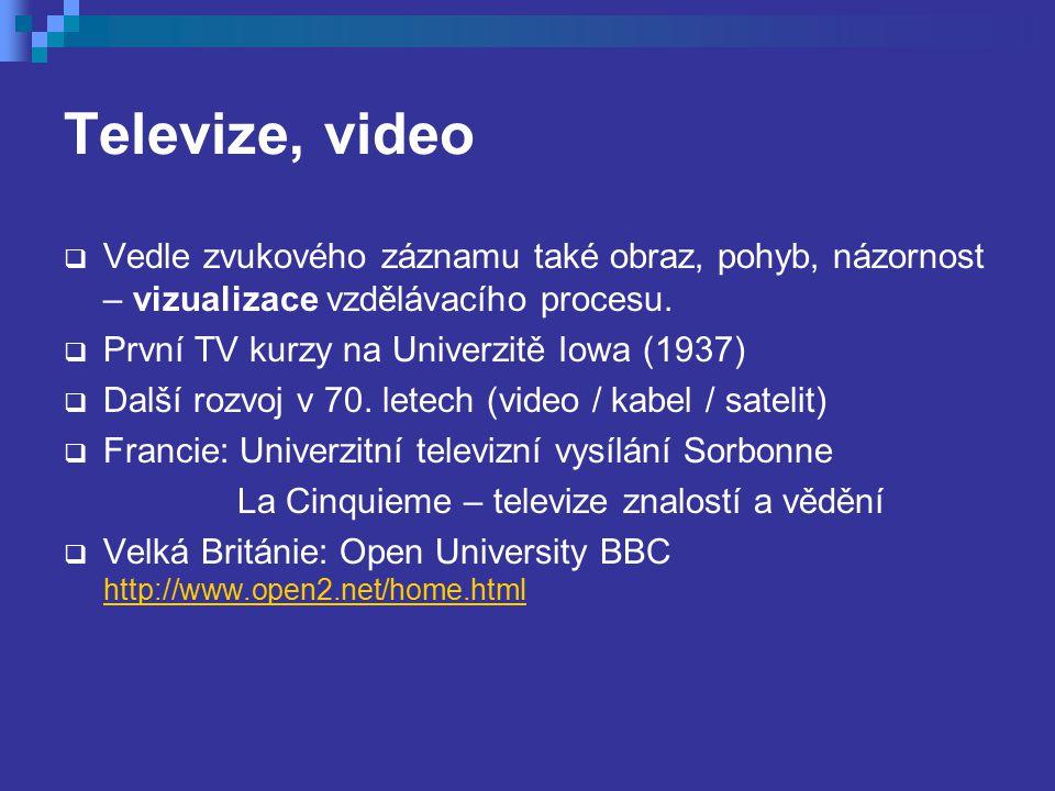 Televize, video  Vedle zvukového záznamu také obraz, pohyb, názornost – vizualizace vzdělávacího procesu.  První TV kurzy na Univerzitě Iowa (1937)