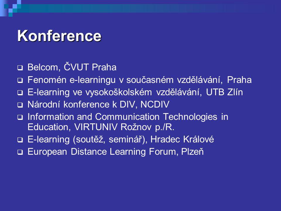 Konference  Belcom, ČVUT Praha  Fenomén e-learningu v současném vzdělávání, Praha  E-learning ve vysokoškolském vzdělávání, UTB Zlín  Národní konf