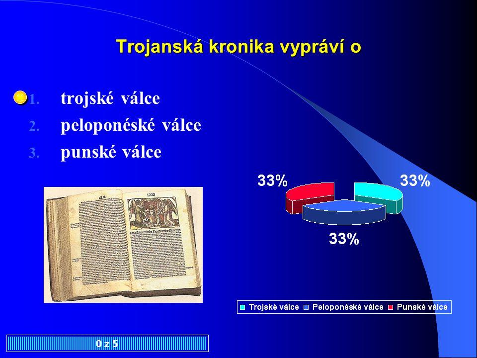 Trojanská kronika byla pravděpodobně vytištěna v 0 z 5 1. Praze 2. Českých Budějovicích 3. Plzni