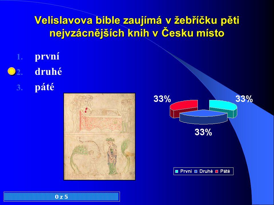 Dokladem mistrovství v oblasti knižní malby v pol. 14. století je 1. Kralická bible 2. Velislavova bible 3. Bible leskovecko-drážďanská 0 z 5