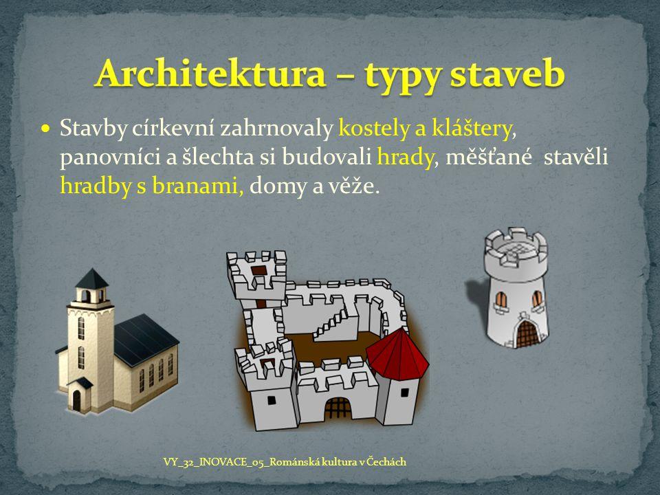 Stavby církevní zahrnovaly kostely a kláštery, panovníci a šlechta si budovali hrady, měšťané stavěli hradby s branami, domy a věže. VY_32_INOVACE_05_