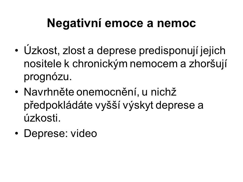 Negativní emoce a nemoc Úzkost, zlost a deprese predisponují jejich nositele k chronickým nemocem a zhoršují prognózu. Navrhněte onemocnění, u nichž p