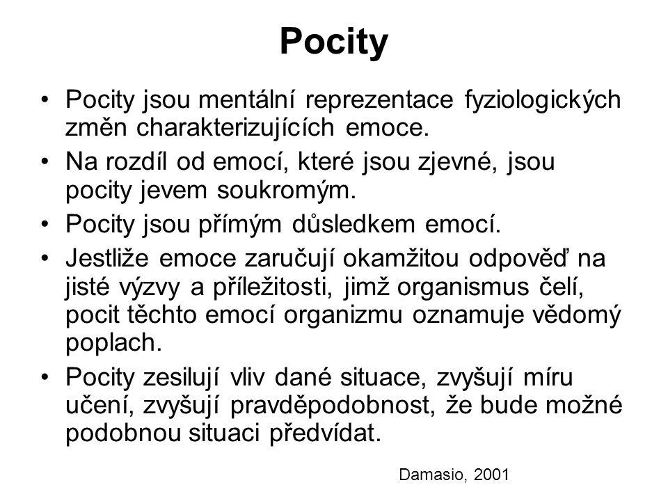 Pocity Pocity jsou mentální reprezentace fyziologických změn charakterizujících emoce. Na rozdíl od emocí, které jsou zjevné, jsou pocity jevem soukro