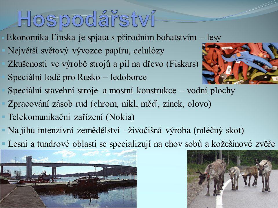  Ekonomika Finska je spjata s přírodním bohatstvím – lesy  Největší světový vývozce papíru, celulózy  Zkušenosti ve výrobě strojů a pil na dřevo (F