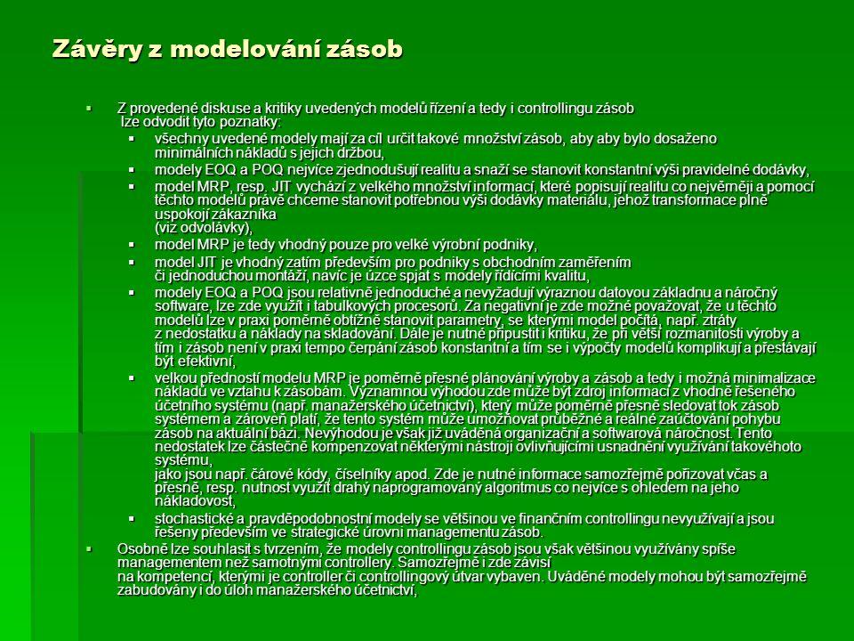 Závěry z modelování zásob  Z provedené diskuse a kritiky uvedených modelů řízení a tedy i controllingu zásob lze odvodit tyto poznatky:  všechny uve
