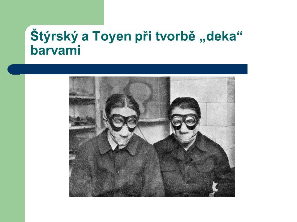 """Štýrský a Toyen při tvorbě """"deka"""" barvami"""