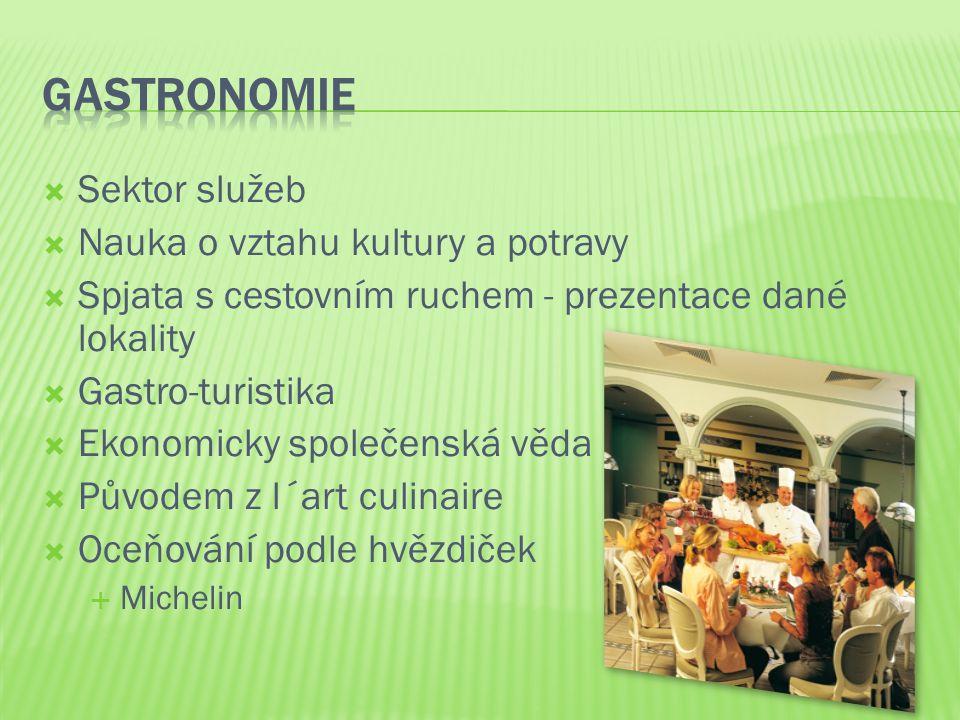  Sektor služeb  Nauka o vztahu kultury a potravy  Spjata s cestovním ruchem - prezentace dané lokality  Gastro-turistika  Ekonomicky společenská