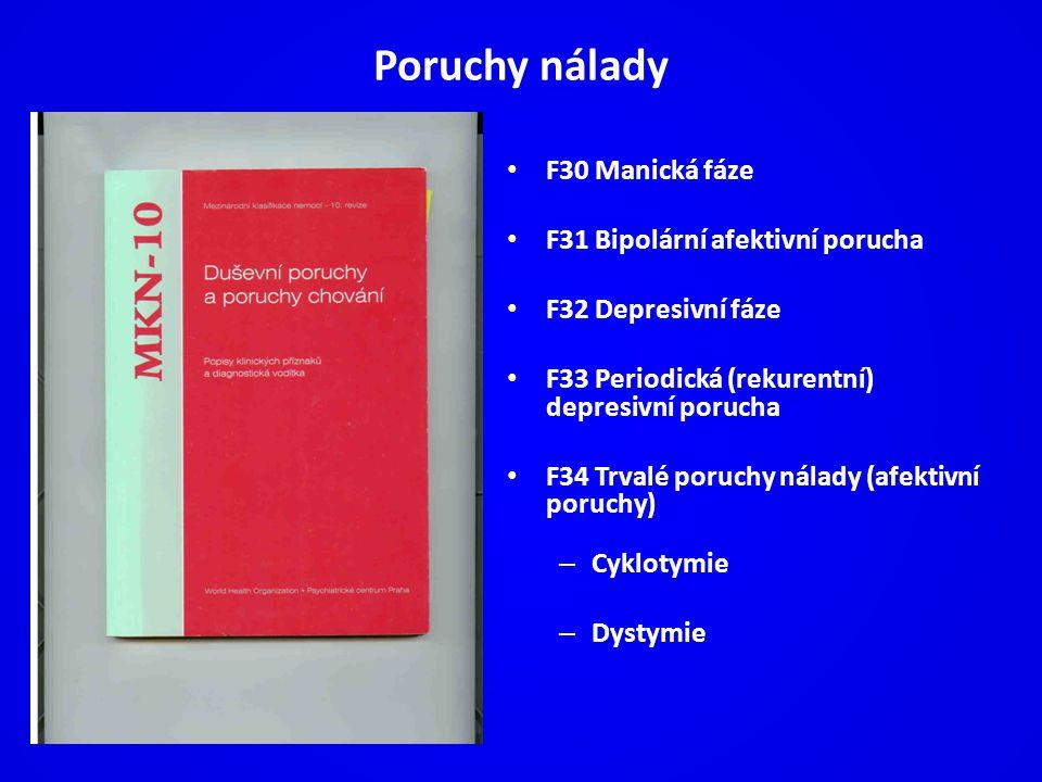 Poruchy nálady F30 Manická fáze F31 Bipolární afektivní porucha F32 Depresivní fáze F33 Periodická (rekurentní) depresivní porucha F34 Trvalé poruchy