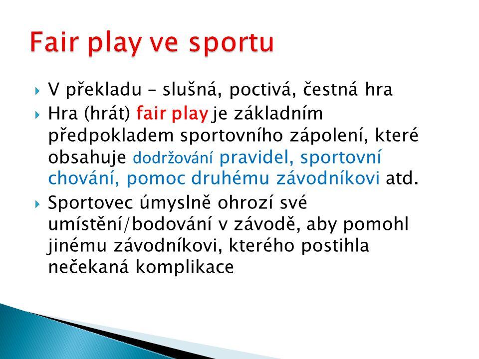  V překladu – slušná, poctivá, čestná hra  Hra (hrát) fair play je základním předpokladem sportovního zápolení, které obsahuje dodržování pravidel,
