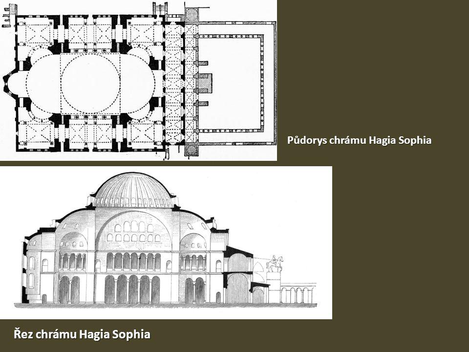 Půdorys chrámu Hagia Sophia Řez chrámu Hagia Sophia