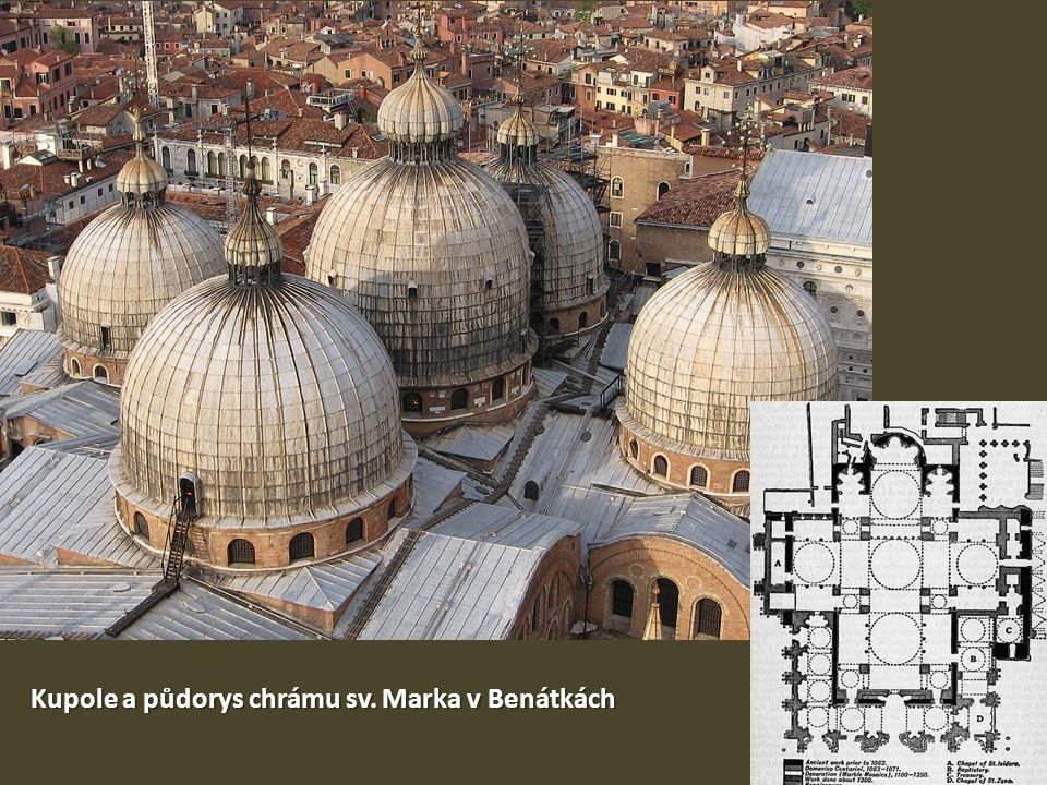 Kupole a půdorys chrámu sv. Marka v Benátkách