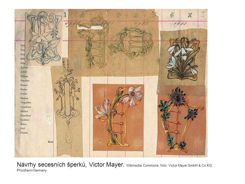 Návrhy secesních šperků, Victor Mayer. Wikimedia Commons, foto: Victor Mayer GmbH & Co KG, Pforzheim/Germany