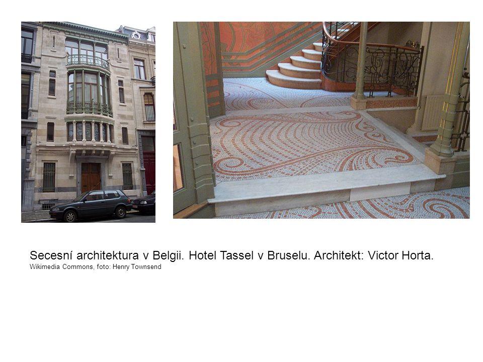 Secesní architektura v Belgii. Hotel Tassel v Bruselu. Architekt: Victor Horta. Wikimedia Commons, foto: Henry Townsend