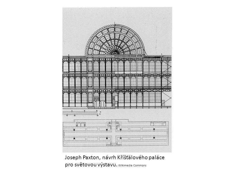 Joseph Paxton, návrh Kříšťálového paláce pro světovou výstavu. Wikimedia Commons