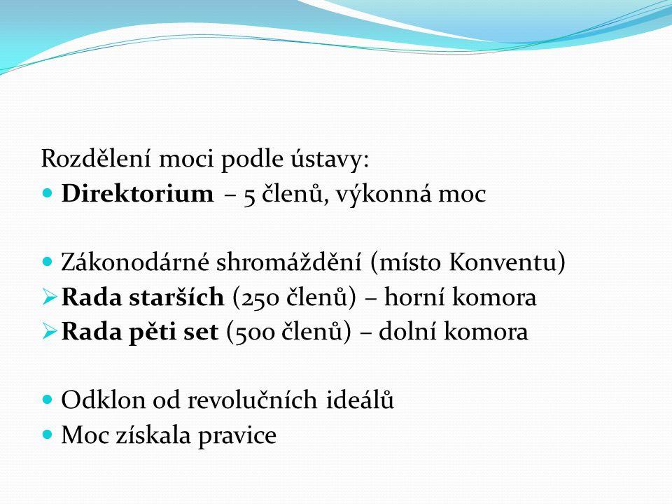 Rozdělení moci podle ústavy: Direktorium – 5 členů, výkonná moc Zákonodárné shromáždění (místo Konventu)  Rada starších (250 členů) – horní komora  Rada pěti set (500 členů) – dolní komora Odklon od revolučních ideálů Moc získala pravice