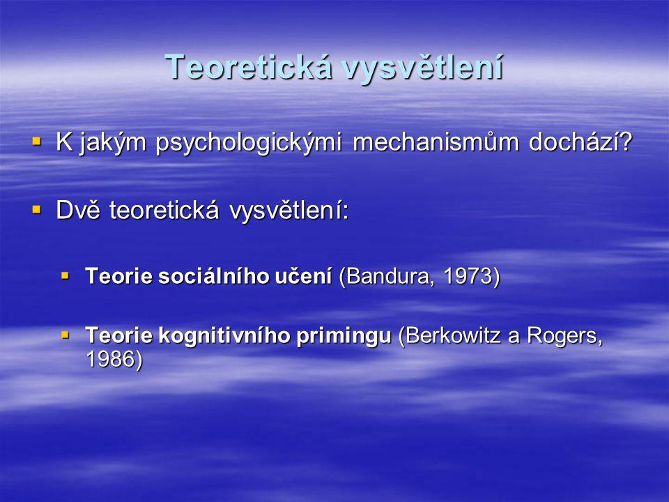 Teoretická vysvětlení  K jakým psychologickými mechanismům dochází?  Dvě teoretická vysvětlení:  Teorie sociálního učení (Bandura, 1973)  Teorie k