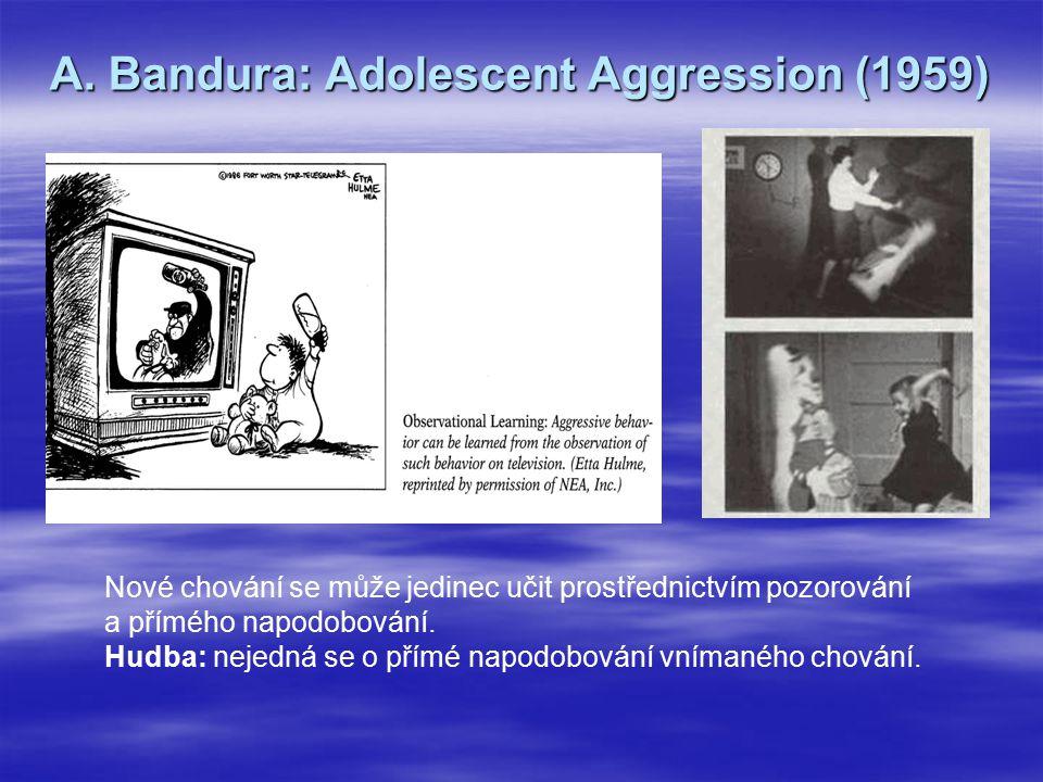 A. Bandura: Adolescent Aggression (1959) Nové chování se může jedinec učit prostřednictvím pozorování a přímého napodobování. Hudba: nejedná se o přím