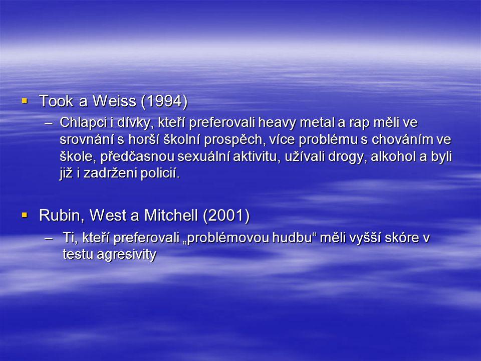 """Korelační studie: souvislost s osobnostními rysy  Sensation seeking a preference heavy metalu –Arnett, 1991, 1992; Kim, Kwak a Chang, 1998; McNamara a Ballard, 1999  Souvislost rysu """"disinhibice a času, který jedinec stráví poslechem """"vzdorovité hudby –Dillman-Carpentier, Knobloch a Zillmann (2003)  Psychoticismus, vzpurnost (rebelliousness) a obliba buřičských videí –Robinson, Weaver a Zillmann (1996) –North, Desborough a Skarstein (2005) - positivní vztah mezi psychoticismem a jedinci, kteří mají rádi rap, metal, hip hop a rock."""