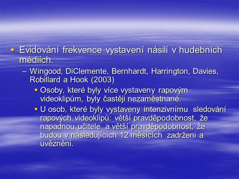  Evidování frekvence vystavení násilí v hudebních médiích. –Wingood, DiClemente, Bernhardt, Harrington, Davies, Robillard a Hook (2003)  Osoby, kter