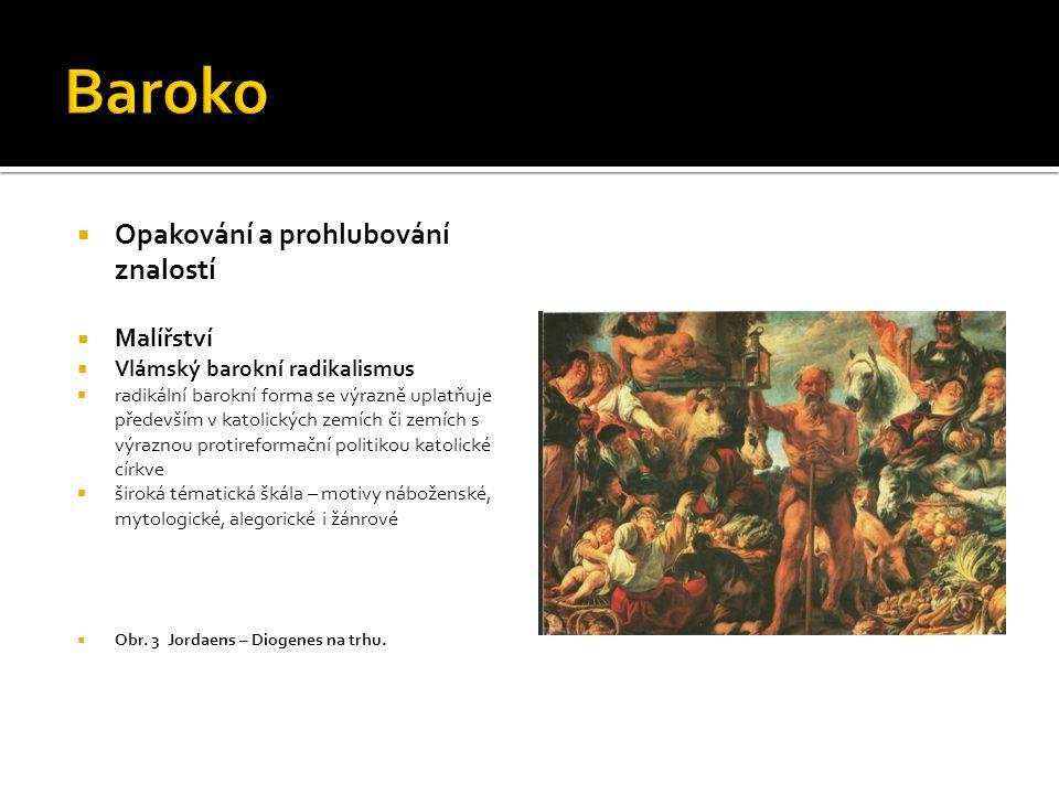  Opakování a prohlubování znalostí  Malířství  Vlámský barokní radikalismus  radikální barokní forma se výrazně uplatňuje především v katolických