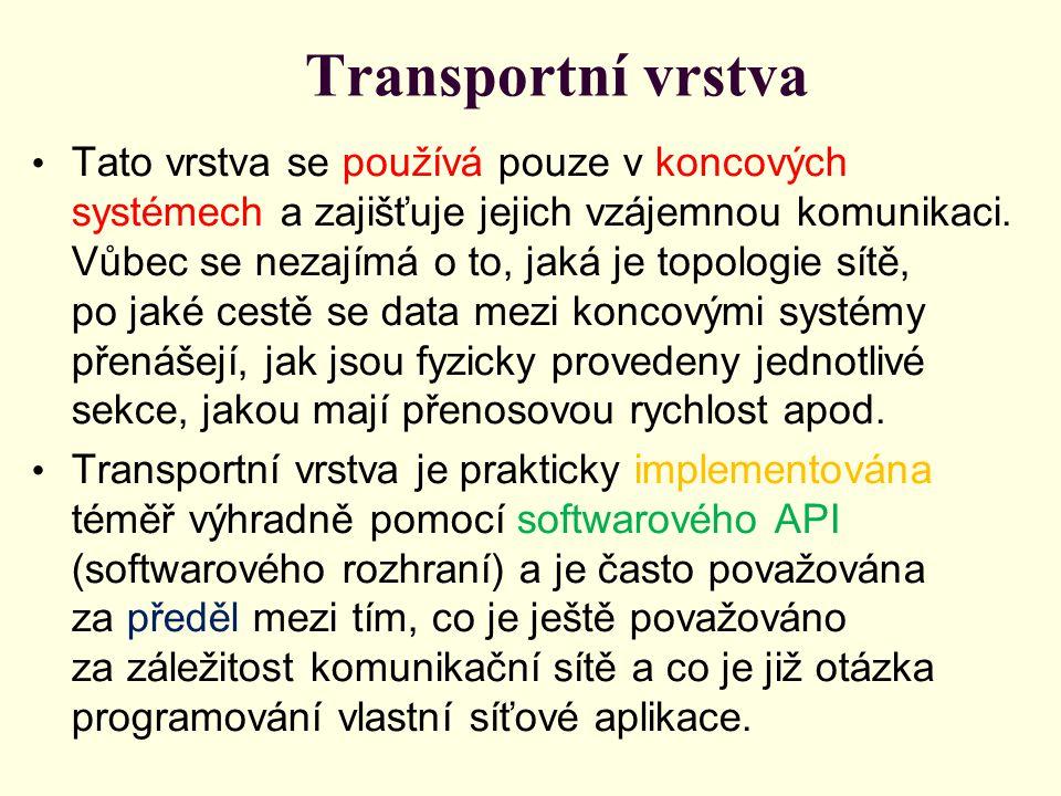 Transportní vrstva Tato vrstva se používá pouze v koncových systémech a zajišťuje jejich vzájemnou komunikaci.