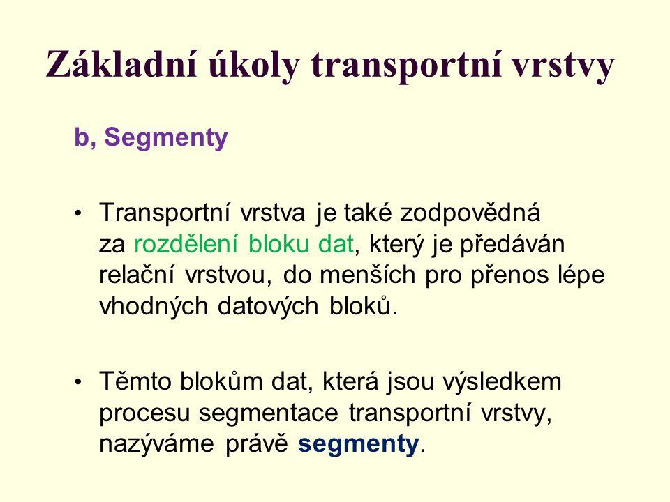 Základní úkoly transportní vrstvy b, Segmenty Transportní vrstva je také zodpovědná za rozdělení bloku dat, který je předáván relační vrstvou, do menších pro přenos lépe vhodných datových bloků.