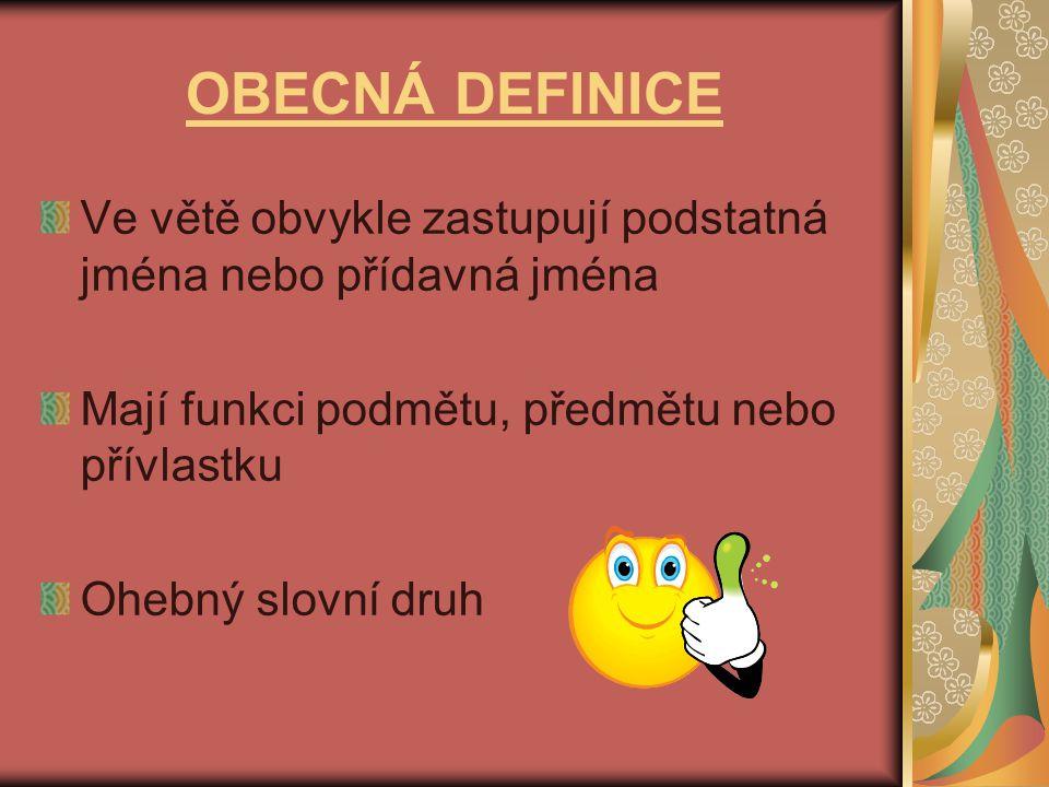 OBECNÁ DEFINICE Ve větě obvykle zastupují podstatná jména nebo přídavná jména Mají funkci podmětu, předmětu nebo přívlastku Ohebný slovní druh