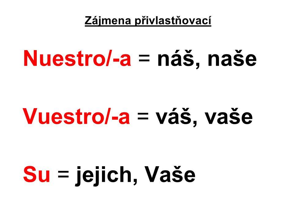 Zájmena přivlastňovací Nuestro/-a = náš, naše Vuestro/-a = váš, vaše Su = jejich, Vaše