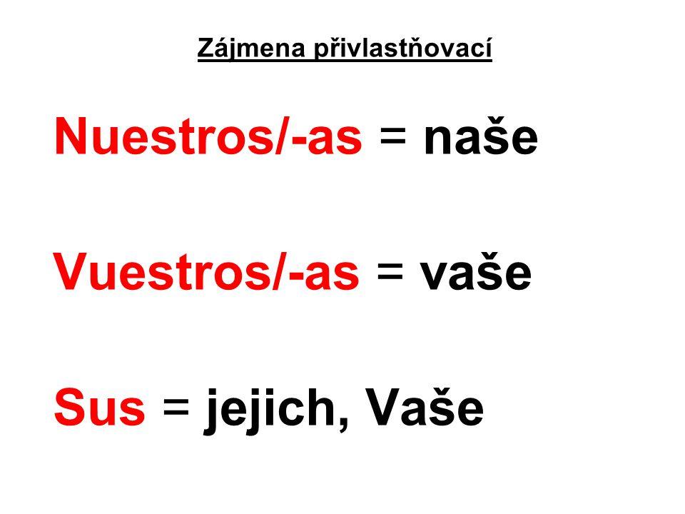 Zájmena přivlastňovací Nuestros/-as = naše Vuestros/-as = vaše Sus = jejich, Vaše