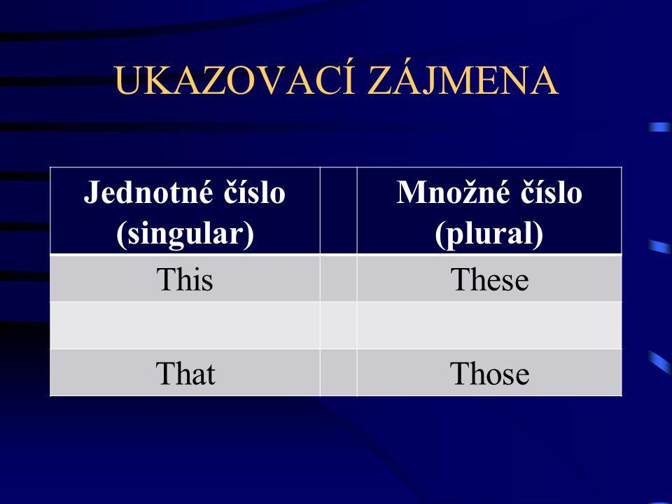 UKAZOVACÍ ZÁJMENA Jednotné číslo (singular) Množné číslo (plural) ThisThese ThatThose