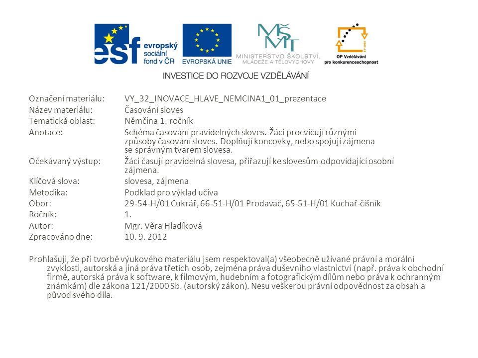 Označení materiálu: VY_32_INOVACE_HLAVE_NEMCINA1_01_prezentace Název materiálu:Časování sloves Tematická oblast:Němčina 1.