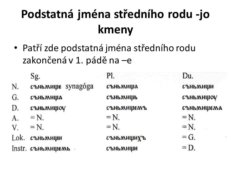 Podstatná jména středního rodu -jo kmeny Patří zde podstatná jména středního rodu zakončená v 1. pádě na –e