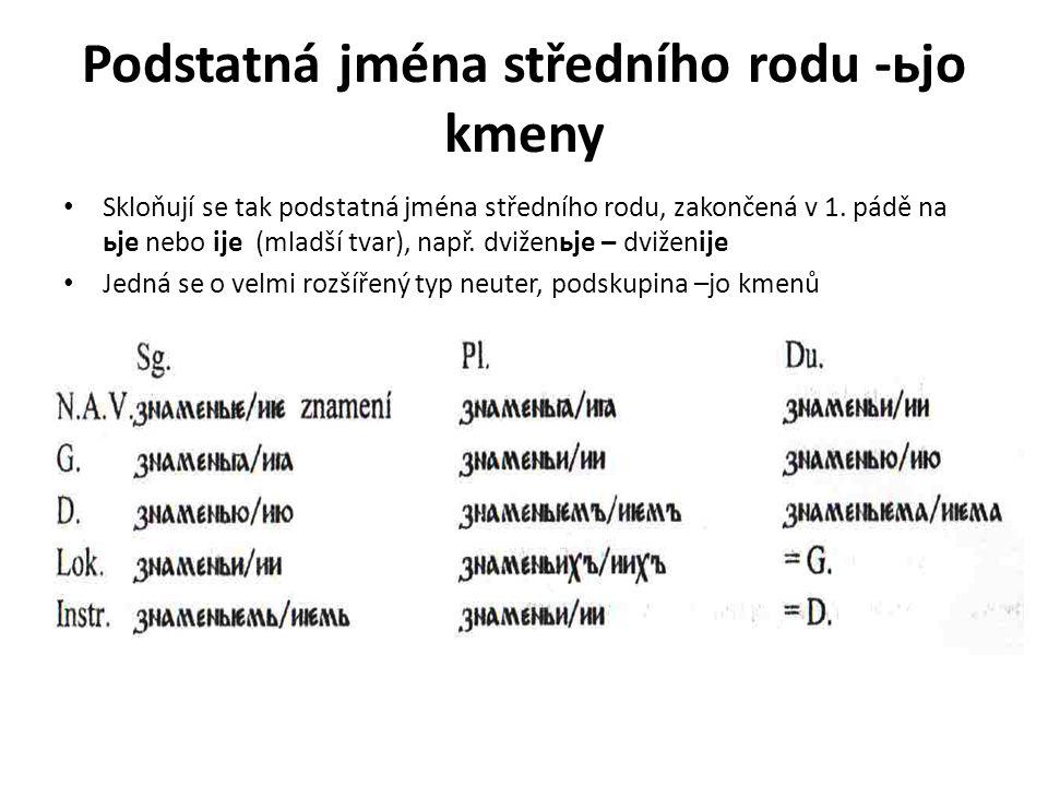 Podstatná jména středního rodu -ьjo kmeny Skloňují se tak podstatná jména středního rodu, zakončená v 1. pádě na ьje nebo ije (mladší tvar), např. dvi