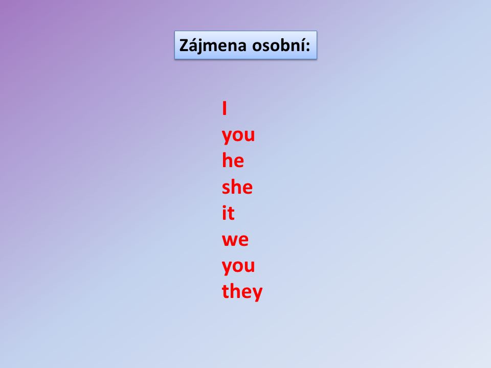 Zájmena osobní: I you he she it we you they