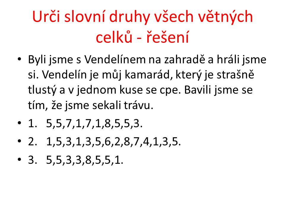 Řešení – rod, číslo, pád a vzor s Vendelínem rod muž.