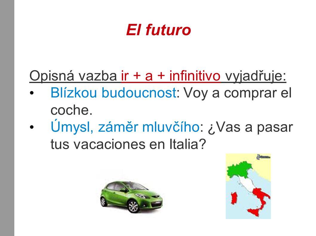 El futuro Opisná vazba ir + a + infinitivo vyjadřuje: Blízkou budoucnost: Voy a comprar el coche.