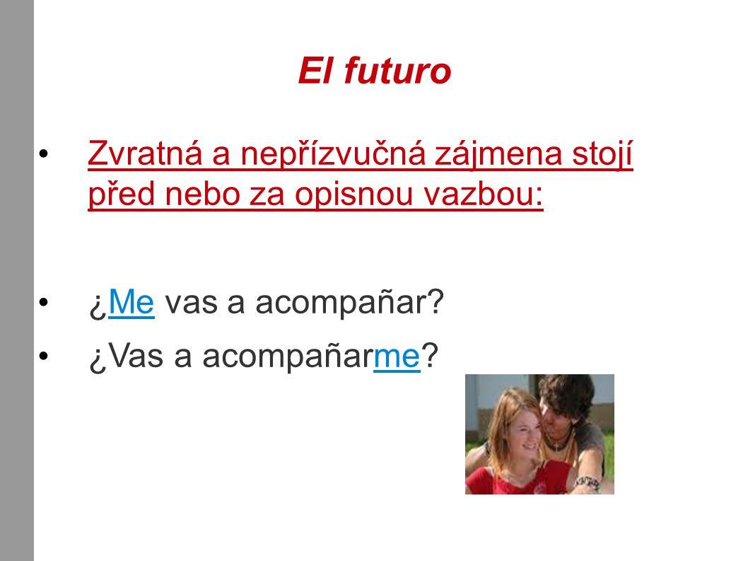 El futuro Zvratná a nepřízvučná zájmena stojí před nebo za opisnou vazbou: ¿Me vas a acompañar.