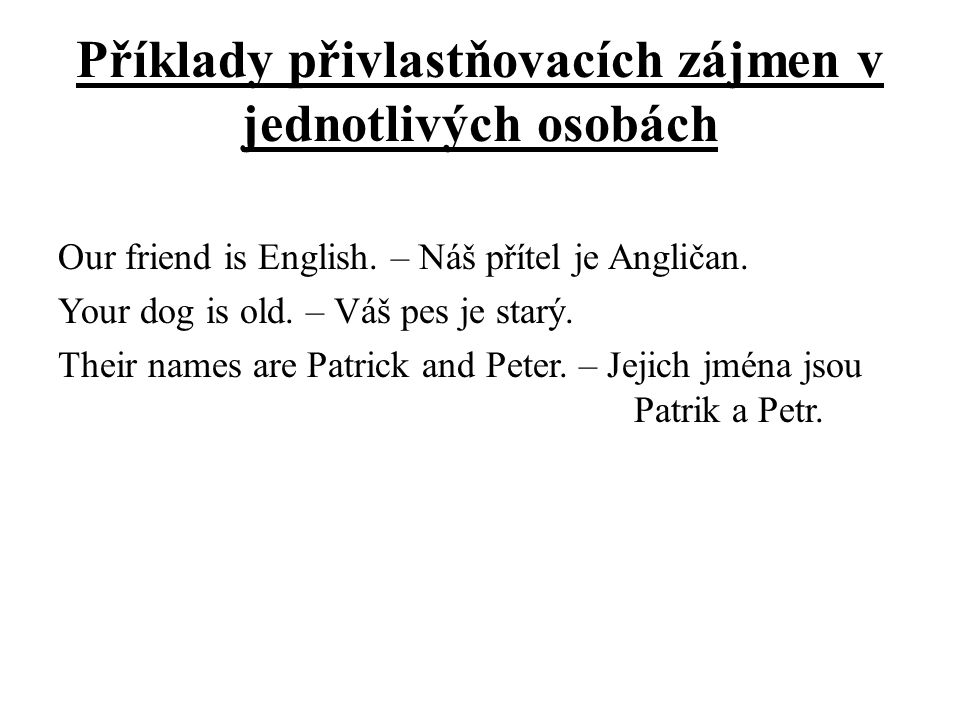 Příklady přivlastňovacích zájmen v jednotlivých osobách Our friend is English.