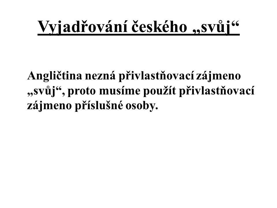 """Vyjadřování českého """"svůj Angličtina nezná přivlastňovací zájmeno """"svůj , proto musíme použít přivlastňovací zájmeno příslušné osoby."""
