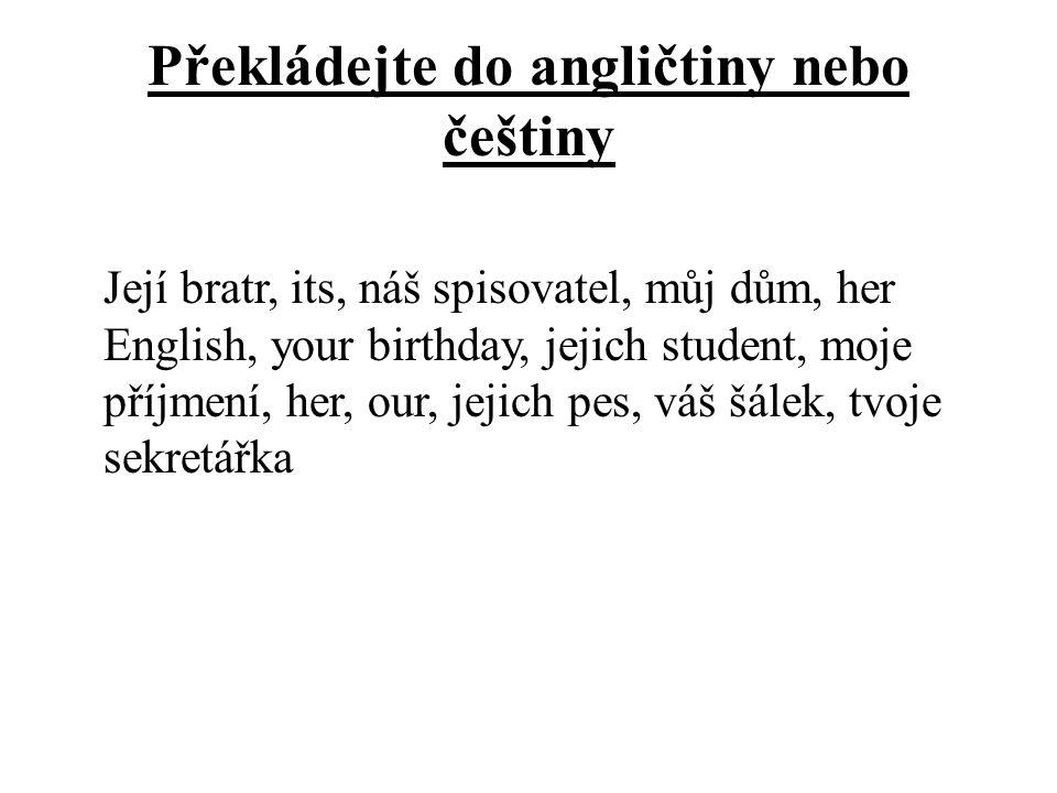 Překládejte do angličtiny nebo češtiny Její bratr, its, náš spisovatel, můj dům, her English, your birthday, jejich student, moje příjmení, her, our,