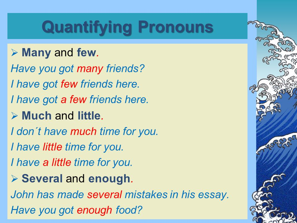 Quantifying Pronouns  Many and few. Have you got many friends.