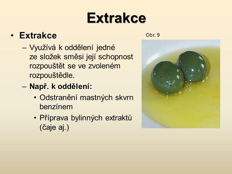 Extrakce ExtrakceExtrakce –Využívá k oddělení jedné ze složek směsi její schopnost rozpouštět se ve zvoleném rozpouštědle.