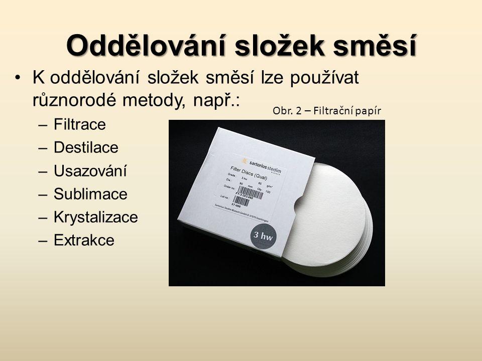 Oddělování složek směsí K oddělování složek směsí lze používat různorodé metody, např.: –Filtrace –Destilace –Usazování –Sublimace –Krystalizace –Extr