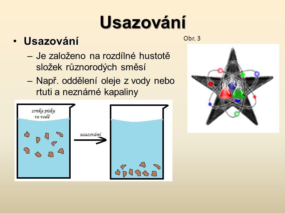Usazování UsazováníUsazování –Je založeno na rozdílné hustotě složek různorodých směsí –Např. oddělení oleje z vody nebo rtuti a neznámé kapaliny Obr.