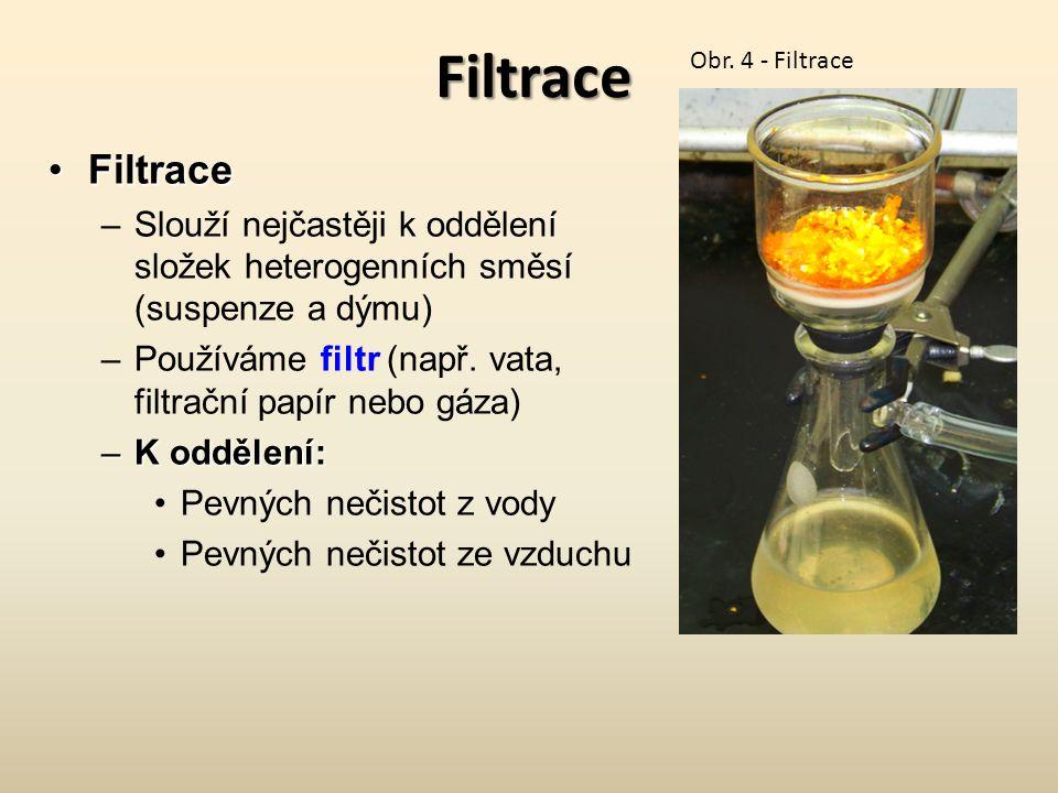 Filtrace FiltraceFiltrace –Slouží nejčastěji k oddělení složek heterogenních směsí (suspenze a dýmu) –Používáme filtr (např. vata, filtrační papír neb