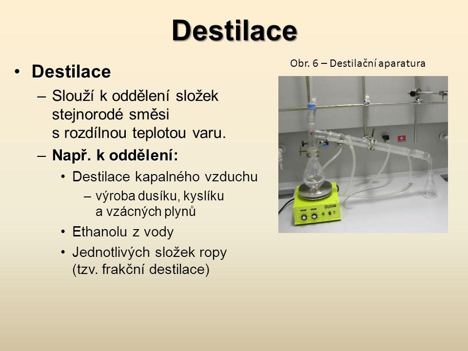 Destilace DestilaceDestilace –Slouží k oddělení složek stejnorodé směsi s rozdílnou teplotou varu.