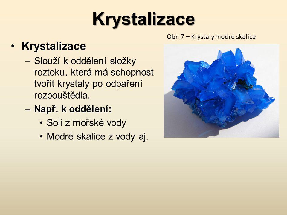 Krystalizace KrystalizaceKrystalizace –Slouží k oddělení složky roztoku, která má schopnost tvořit krystaly po odpaření rozpouštědla. –Např. k oddělen