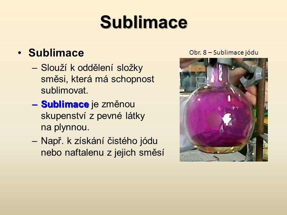 Sublimace SublimaceSublimace –Slouží k oddělení složky směsi, která má schopnost sublimovat. –Sublimace –Sublimace je změnou skupenství z pevné látky