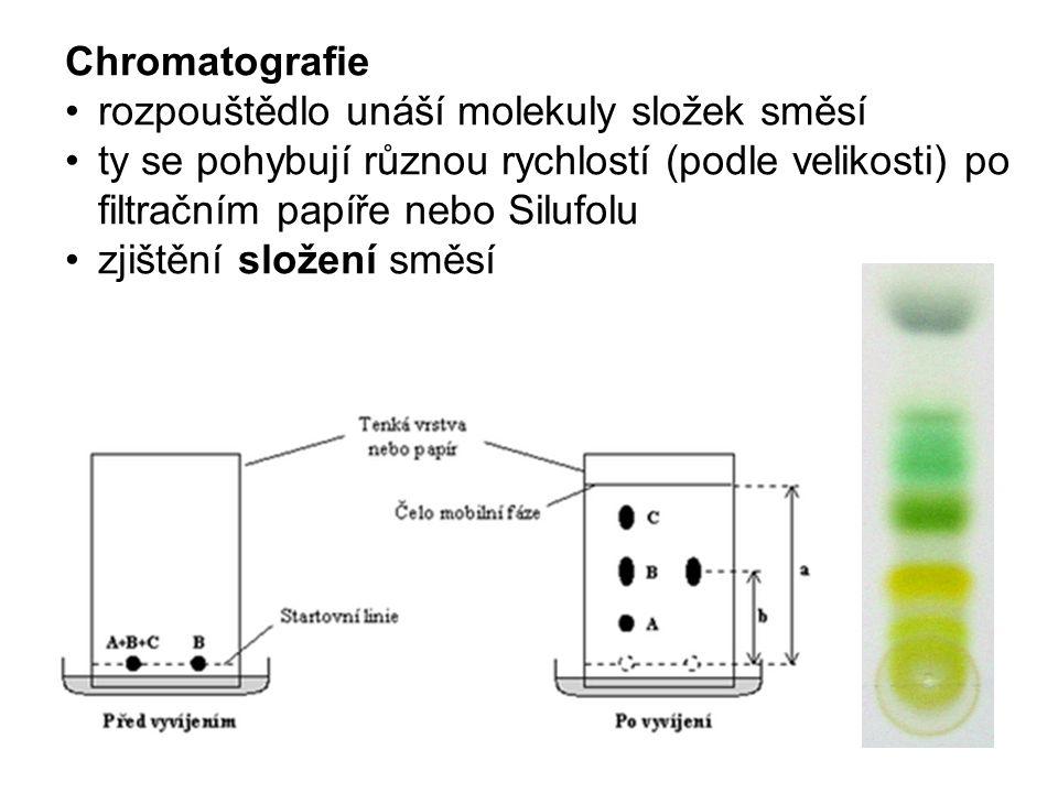 Chromatografie rozpouštědlo unáší molekuly složek směsí ty se pohybují různou rychlostí (podle velikosti) po filtračním papíře nebo Silufolu zjištění